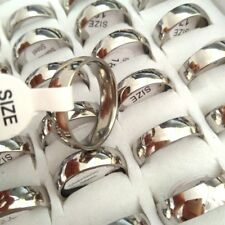 Bulk lots 200pcs Wholesale 6mm Silver Band Stainless Steel Wedding Rings Unisex