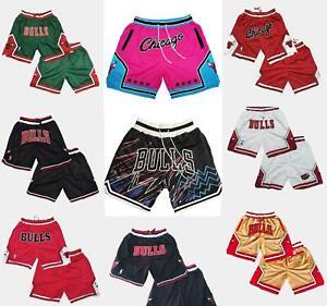 Chicago Bulls Vintage Basketball Game Shorts NBA Men's NWT Stitched Pants S-3XL