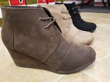 NEW TAUPE, BROWN, BLACK SUEDE WEDGE PIERRE DUMAS BOOTIES SIZES 5.5-11