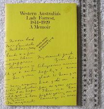 WESTERN AUSTRALIA'S LADY FORREST 1844-1929: A MEMOIR [CROWLEY] (1975) + pamphlet