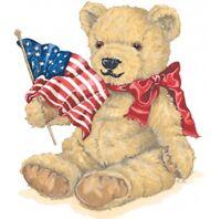 American Flag & Teddy Bear Shirt, Patriotic Bear, Red Bow, Small - 5X
