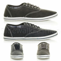 Mens flat lace up work smart plain casual pump plimsoles trainers shoes size