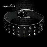 Black Spiked Rivets Dog Collars Genuine Leather Heavy Duty for Small Large Dogs