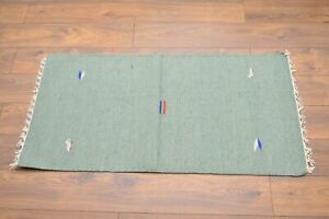 Handmade Carpet Rug Kilim Hand Knotted & Woven In India 100% Wool 140x70cm Green
