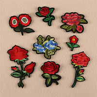 8x Red Rose Flower Embroidery Applique Cloth DIY Sewing & Iron on Patch Badge Cw