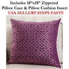 "18x18 18"" 18 inch PURPLE HARLEQUIN DIAMOND Zippered Throw Pillow Cushion Mosaic"