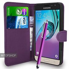 Purple Wallet Case PU Leather Book Cover For Samsung Galaxy J3 2016 Mobile Phone
