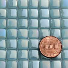 8mm Mosaic Glass Tiles - 2 Ounces About 87 Tiles - Iridescent Phthalo Blue #6