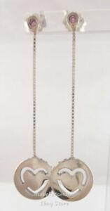 PURE LOVE Authentic PANDORA Silver/Pink HEART Drop/Dangle Earrings 296577FPC ALE