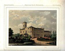 MELNO Powiat Grudziądzki Schlossansicht Lithographie um 1860 - Original!!