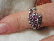 Ruby Leopard Ring Size 8 1/2 .925  Silver 44 of 2 MM. Round Rubies Eye Clean