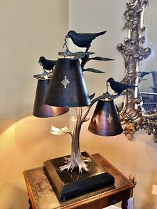 """Maitland-Smith  """"Bird's in a Tree"""" Lamp Finely Cast Bronze WOW"""