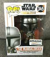 Funko Pop! STAR WARS THE MANDALORIAN (Chrome) Amazon Exclusive # 345 On Hand NEW