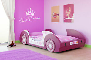 Girls Single Car Bed Frame Girl Toddler Junior Kids Pink Princess Children's