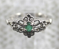 14kt White Gold Emerald Ring Heavy Gold Tiny Deep Green Natural Emerald Size 6