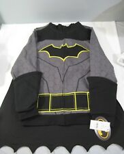 NEW Boys DC Comics Batman Sweatshirt Fleece Hoodie Dark Gray Black Medium M WB