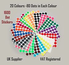 Pack of 1600 -20 mm Circular Coloured Dot Stickers - 20 Colours Premium Pack