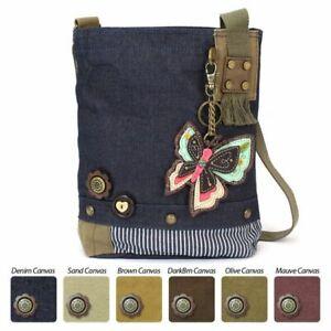 New Chala Patch Crossbody Messenger Bag Denim Navy Blue BUTTERFLY Coin Purse