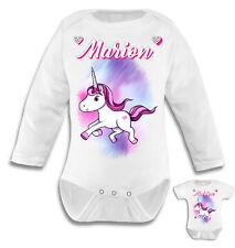 Body bébé Licorne personnalisé avec le prénom de votre choix