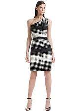 Belle Badgley Mischka White & Black Polka Dot One-Shoulder Dress Size 2 $149
