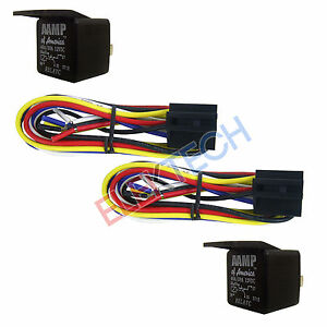 """Two(2) RelayC Power Relay 30A/40A Amp and Two(2) BRS007 17"""" Socket 14/18 awg"""