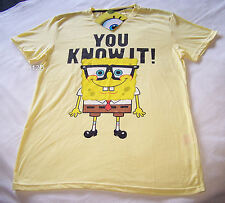 Nickelodeon SpongeBob Mens You Know It Yellow Printed T Shirt Size XXS New