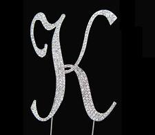 "Large Rhinestone Crystal Monogram Letter ""K""  Wedding Cake Topper  5"" inch high"