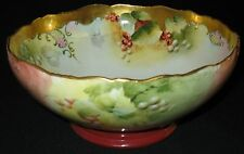 ANTIQUE T&V LIMOGES MARK 6 HANDPAINTED CURRANTS PUNCH BOWL SIGNED 'M R' GOLD