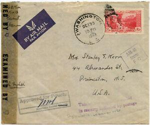 LEBANON WW2 VIA DIPLOMATIC POUCH to USA 1944 CENSORED AIRMAIL