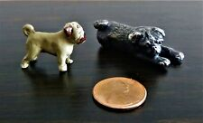 """Lot Of 2 Vintage Metal Pug Dogs ~ Pewter & ? ~ 1-1/8"""" To 1-7/8"""" ~ Collectible ~"""