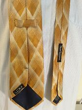 "LDM, 100% SILK NECKTIE YELLOW/WHITE DIAMOND PATERN  3.7""W/59""L ITALY"