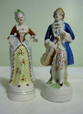 "2 Vintage Japan Colonial Victorian Lady Man Figurine With Violin 6 1/4""H"