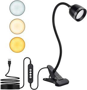 7W LED Clip Desk, Bedside Lamp with 3 Color Modes & 10 Brightness Dimmer,360...