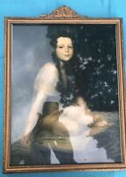19th Cent. French Empire Water Gilt Frame with Young Lady Lithograph