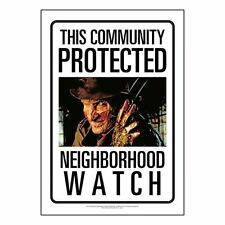 Nightmare on Elm Street Freddy Krueger Community Watch Tin Sign 8 x 11.5