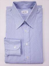 Ascot Chang Dress Shirt Blue Striped 15.5 Mens Size Cotton Long Tall Custom Sz
