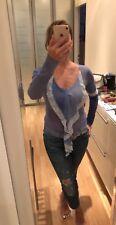 Paquito Bluse Tunika Shirt Gr.S 34 36 Rüschen Batik Blau Sommer Italy Neu