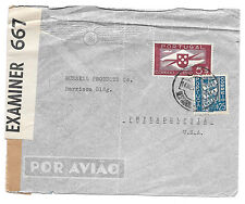 Portugal Censored Cover WWII to US Airmail Sc 566 C6 Examiner Tape 667