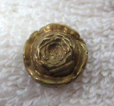"Older Gold Tone Metal Button 3D Rose Flower Face 1/2"" B247"