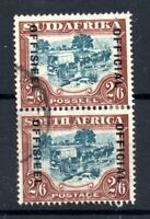 South Africa 1931 2s 6d Official fine used pair SG011 19mm WS19921