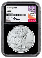 2020 1 oz American Silver Eagle $1 Coin NGC MS70 Black Core Mercanti Signed