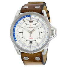 Diesel Rollcage Exposed Silver Dial Brown Leather Mens Watch DZ1715