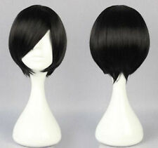 Black Short Straight Anime Cosplay Women's Lady's Party Hair Wig Wigs + Wig Cap