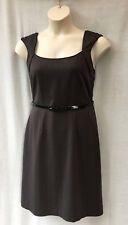 Jacqui E Size 14 L Dress Taupe Stretch Corporate Work Office AS NEW Summer
