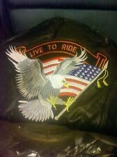Unisex Black Leather Motorcycle Jacket--XL