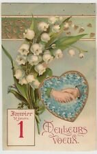 Greetings; Happy New Year, French, Embossed Forget Me Nots & Snowdrops PPC 1907