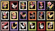 Chicken Chique Fabric Panel in Black by Loralie Designs 100 Cotton