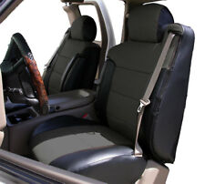 CHEVY SILVERADO 03-06 BLACK/CHARCOAL LEATHER-LIKE CUSTOM FRONT SEAT & 2ARM COVER