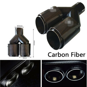 Real Carbon Fiber Car Auto SUV Dual Exhaust Pipe Tail Muffler Tip Glossy Plating