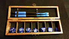Dungeons Dragons Pathfinder Blue Polyhedral Dice Set Wood Box Dragon Design